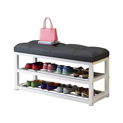 HEMFV Simplifique el Banco de Almacenamiento, Zapatero Multi-Capa Simple Prueba de Polvo de Almacenamiento de Calzado gabinete Hierro Forjado Asamblea Moderno Banco de Zapatos