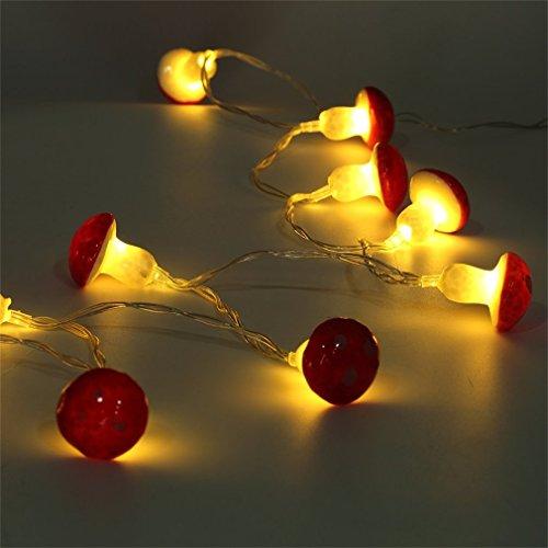 ONEVER 2M 20LED Pilz-Schnur-Licht-Lampe mit Batterie-Kasten-Garten-Party-Dekor