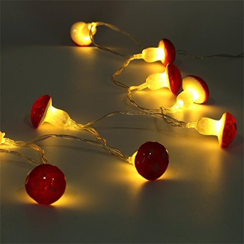 ONEVER 2M 20LED Mushroom String Light Lamp with Battery Box Garden Party Decor