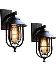 2er Retro Wandlamp Buiten, Zwart Buitenlamp Waterdichte IP44 Externe Lamp van Aluminium, klassieke wandlamp voor ingangszones, E27 stopcontacten, max. 60 Watt, Tuin- of Terrasverlichting