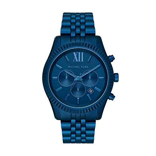 Michael Kors Men's Quartz Watch with Metal Strap, Blue, 22 (Model: MK8791)