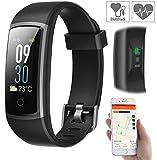 Newgen Medicals Schrittzähler: Fitness-Armband mit Puls- & Blutdruck-Anzeige, App, Farb-Display, IP68 (Smartwatch Blutdruck)