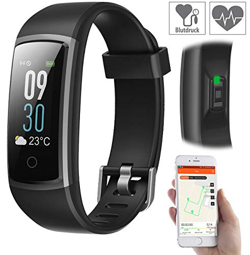 Newgen Medicals Fitnesstracker: Fitness-Armband mit Puls- & Blutdruck-Anzeige, App, Farb-Display, IP68 (Smartwatches)