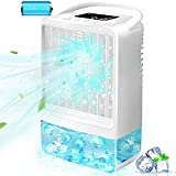 Portable Outdoor Air Conditioner Fan, EEIEER Personal Misting Humidifier Evaporative Air Cooler 3 Speeds 2/4H Timing 7 Colors Light Quiet Small Handled Table Fans for Home Patios with Build-in Battery