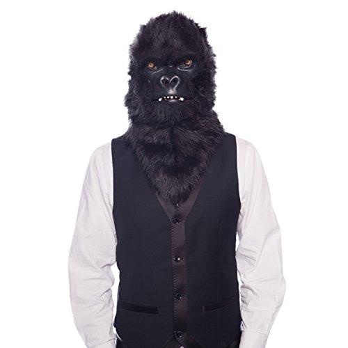Moving Mouth Mask 21763 Moving Mouth Gorilla AFFE Deluxe Masker Dierenmasker Zwart, onze maat