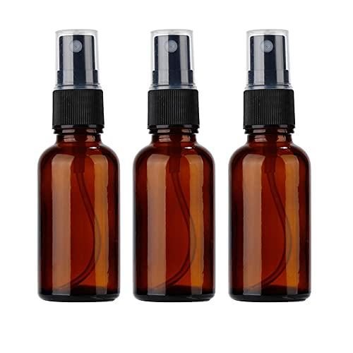 Niuta Sprühflaschen aus bernsteinfarbenem Glas, für ätherische Öle, kleine leere Sprühflasche, feiner Nebel, 3 Stück