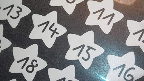 Bügelbilder-Set, 24 Motive je4,8x4,3cm, Motiv: Adventskalenderzahlen 1-24 zum bügeln, Farbe: weiß, heißsiegelfähige Flockfolie auf Basis von Viskosefasern