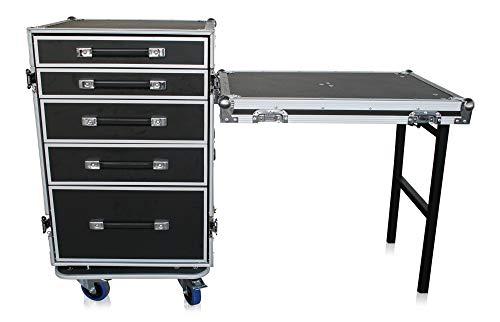 Transportcase 5 Schubladen +Tisch Flightcase Rollen Rack Messe BBQ Handwerk