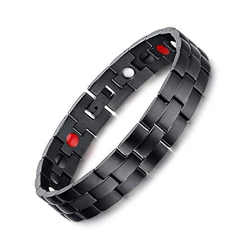 Jeracol Magnetarmband Gesundheit Magnettherapie Armband Herren Schmerzlinderung für Arthritis Magnetarmband Herren Damen mit Entfernen Werkzeug und Elegante Geschenkbox, Schwarz.