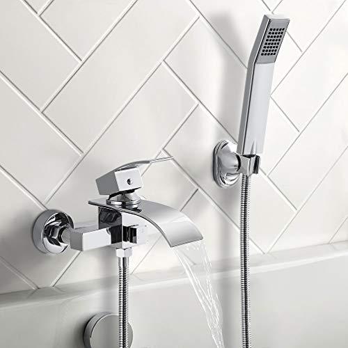BONADE Badewannenarmatur mit Handbrause Duschsysteme Duscharmatur mit Wasserfall Auslauf Wannenarmatur Badarmatur inkl. Wandhalterung Einhandmischer Wasserhahn für Bad Dusche, Chrom