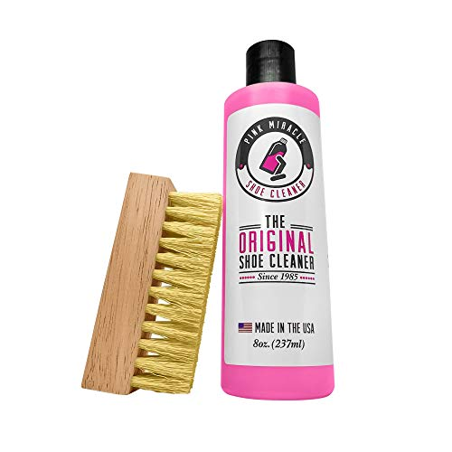 Pink Miracle Bottle - Shoe Cleaner - Fabric Cleaner Solution With Free BONUS Brush - Works on Leather, Whites, Nubuck, Golf Shoes, Basketball Shoes, Boots, Sandals, Home and Car Upholstery (4 OZ)