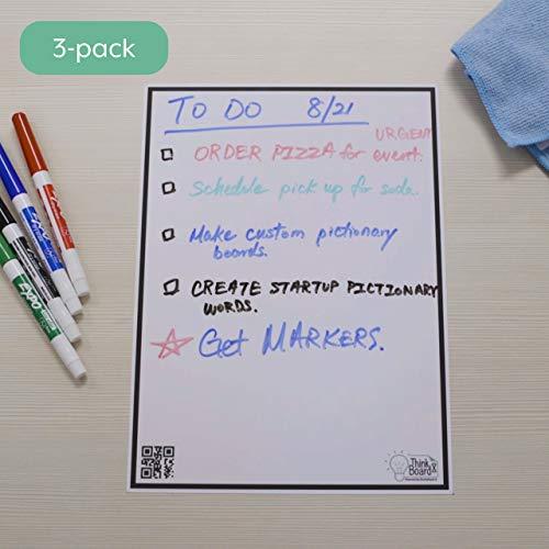 Think Board X Rocketbook Smart Stick-Up Whiteboard — 3 Stück A4 Aufkleber, verwandeln Sie jede Oberfläche in ein Whiteboard, verwenden Sie die Rocketbook App, um Notizen in die Cloud hochzuladen