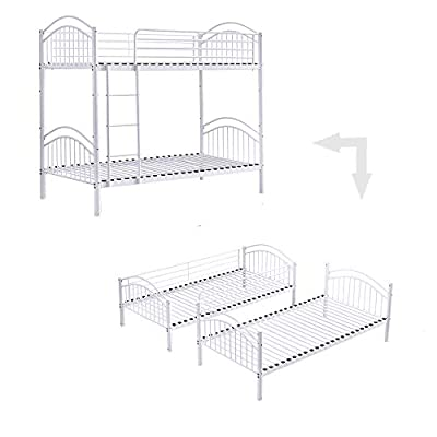 Ansley&HosHo Detachable Bunk Bed 3ft Twin Bed for Kids Metal Bunk Bed Twin Bed Frame Splits into 2 Single Beds Household High Sleeper Loft Twin Bed I Shape for Twins Home Children's Bedroom Cabin