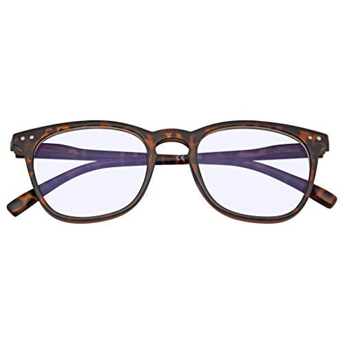 Emblem Eyewear - Vetri Per Computer Classici Con Blocco Blu Bordato Di Corno Quadrato Anti Anti Blu Chiaro (2.00, Marrone)
