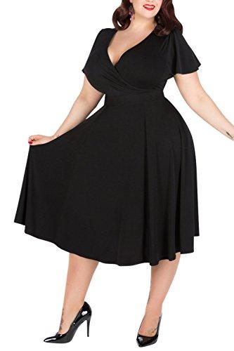 Nemidor Women's V-Neckline Stretchy Casual Midi Plus Size Vintage Dress (16W, Black)