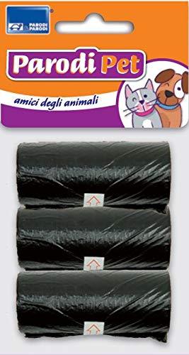 Set 3 Rotoli Sacchetti raccogli feci Animali, Kit da 3 Rotoli di Sacchetti per bisogni Animali Domestici, Rotoli Sacchetti igienici raccogli bisogni per Cane Gatto, Art. 804 Parodi Sacchetti igienici