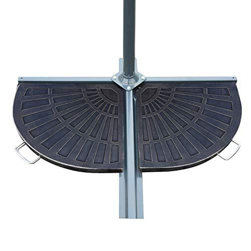 Outsunny 2pc Flabelliform Garden Parasol Base Umbrella Patio Stand Holder Colophony New