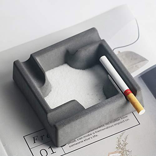 LittleNUM Cenicero Moda nórdico Estilo Industrial cenicero Sala de Estar decoración Cemento cenicero,Negro