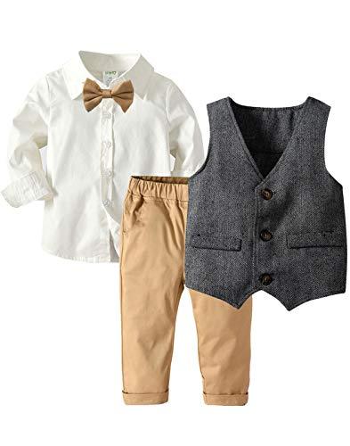 LAPA Baby Boy Gentleman Oufit 4 PCS with Long Sleeve Shirt, Formal Bowtie, Vest, Bibs Pants Weeding Tuxedo Wearing Suit Khaki, Gray