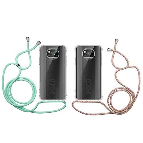 2 x Funda con Cuerda para Xiaomi Poco X3 Pro, Carcasa Transparente TPU Suave Silicona Case, E-Lush Caso con Colgante Ajustable Correa de Cordón Funda Ultra Delgado Goma Cover, Verde Arcoiris