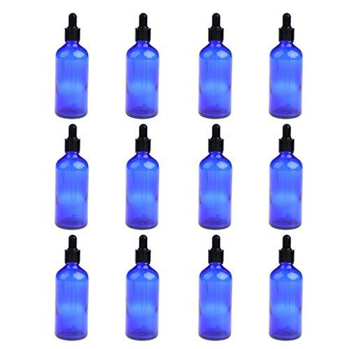 Hellery 12pcs Portable Voyage Vide Bouteilles en Verre Rechargeables Huile Essentielle Parfums Liquides Cosmétique - Bleu