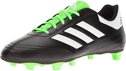 adidas Men's Goletto VI FG Soccer Shoe, Black/White/Solar Green, 10 M US