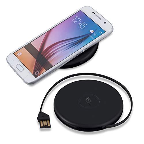 kwmobile | Drahtloses Qi Ladegerät in Schwarz matt - r& | integriertes USB Kabel | für alle Qi-fähigen Geräte - kompatibel mit Nokia HTC LG Apple & Samsung