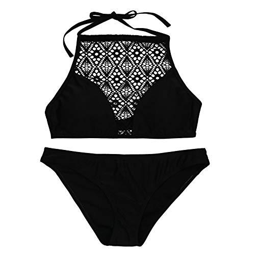 IZHH Damen Bikini Set, Sandstrand BH schwarzer Netz Openwork Badeanzug Set Strandbadebekleidung, Bikini Damen Schwarz, Tankini Damen Bauchweg(Schwarz,Medium)