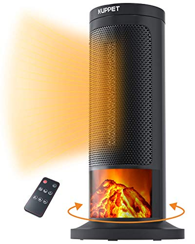 KUPPET Digital Ceramic Tower Space Heater with Remote Control - Oscillating - 3D Realistic Flame Effect for Indoor Use - FAN/LOW/HIGH 3 mode - 12H Timer - Overheating Safety Protection