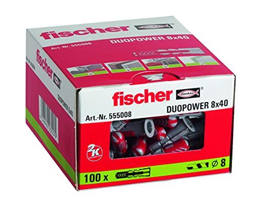 Fischer Taco Duopower Uds, 555008, Gris, 8x40 (Caja 100 tacos), Set Piezas