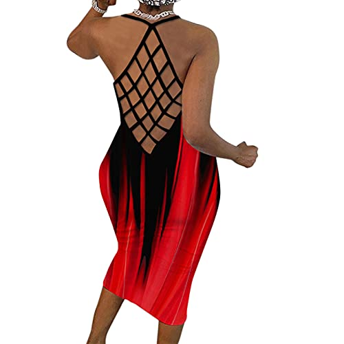 Kaideny Dresses for Women, Sexy Tie-dye Skinny Maxi Dress O-Neck Sleeveless Splicing Fishnet Backless Cocktail Party Dress Red