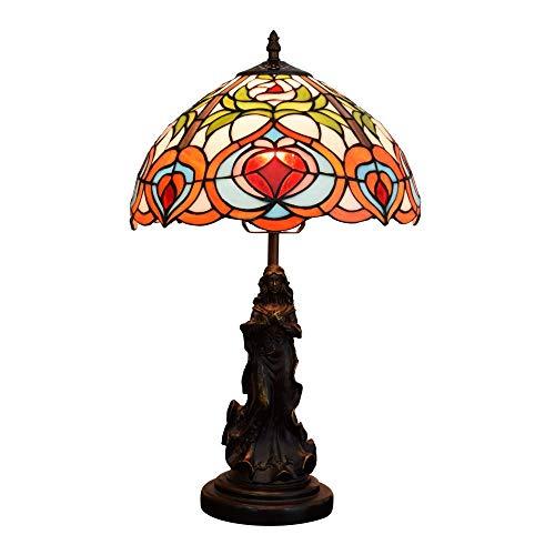 Allamp Norte de Europa Estilo Tiffany cubierta 12 pulgadas Tiffany lámpara de escritorio retro Europea creativo Hada melocotón Jardín Salón Comedor Dormitorio de noche lámpara de mesa de bar Tiffany l
