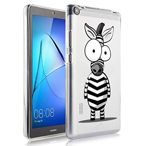 ZhuoFan Coque Huawei Mediapad T3 7 Housse de Protection Étui Fin en Silicone Transparente avec Motif Antichoc Flexible TPU Cover Case pour Tablette Huawei Mediapad T3 7.0 Poucess, Zèbre