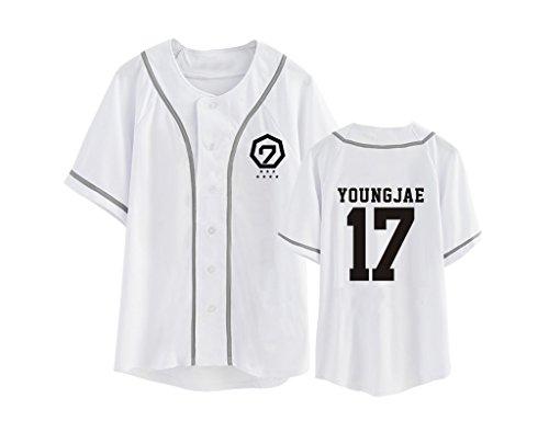 babyhealthy GOT7 Fly in Seoul Same T-Shirt Mark Jackson JB JR Yugyeom Hip-hop Shirt XXL Youngjae White