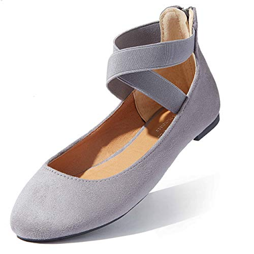 Shoe Ballet Flat Flat Womens Shoes Shoes Ballet Ankle Strap Elastic Comfy Summer Beach Travel Fashion Comfortable Flats Round Toe Slip-on Grey,sv,9