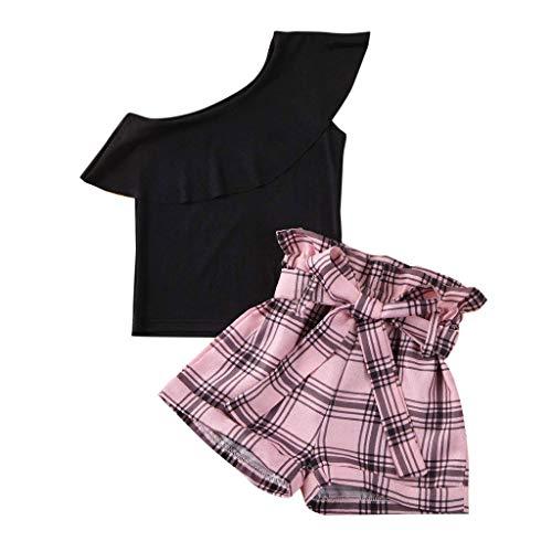 sunnymi Bekleidungssets für Baby Mädchen,1-6 Jahre Kleinkind Kinder Baby Mädchen Fly Sleeve Floral Tops + Solid Ruffle Röcke Kleidung Set
