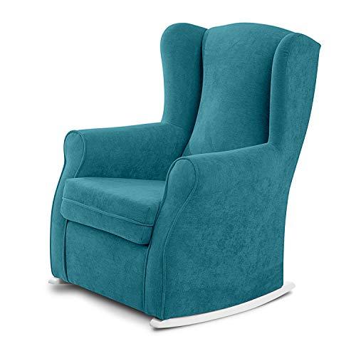Sillon orejero balancin Mecedora. Irene (Sillon Lactancia) Sillón de hogar tapizado Antimanchas Color Turquesa. Mecedora para Dormitorio, sillones de salón | Butaca Relax Lactancia