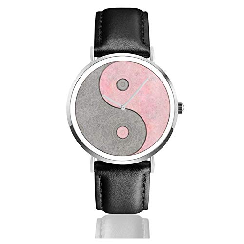 Yin Yang Esoteric Symbol Pastell Pink und Grau Uhr Quarzwerk Wasserdichtes Leder Uhrenarmband für Männer Frauen Einfache Business Casua
