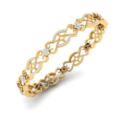 18K giallo oro, 2.92Cttw round-cut-diamond (ij  si) bangle-bracelets
