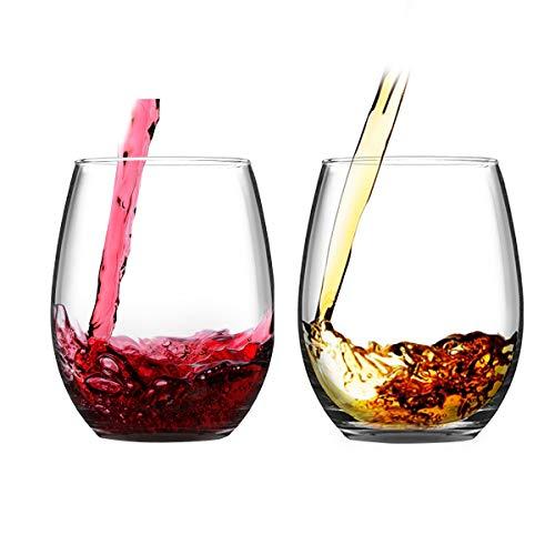 Juego de 2 copas de vino sin tallo, vasos de vino para vino tinto y blanco de 15 onzas para fiesta de cumpleaños, playa, boda