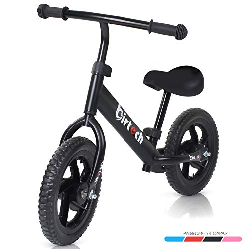 Birtech Balance Bike for 1,2,3,4 Year Old Kids, 12 Inch Toddler Balance Bike Kids Indoor Outdoor Toys, No Pedal Training Bicycle with Adjustable Seat Height, Airless Tire, Black