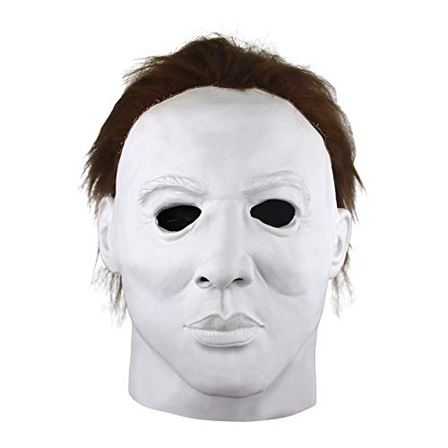 Halloween Michael Myers Mask, Halloween Hot Movie Latex Horror Scary Masks for Adult Cosplay Costume Grey (white)