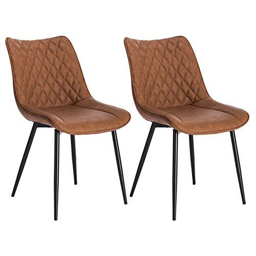 WOLTU® Esszimmerstühle BH210hbr-2 2er Set Küchenstuhl Polsterstuhl Wohnzimmerstuhl Sessel mit Rückenlehne, Sitzfläche aus Kunstleder, Metallbeine, Antiklederoptik, Hellbraun