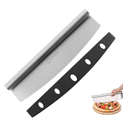Mesabu Pizzaschneider aus Edelstahl, Scharfes Pizzamesser mit Edelstahlklinge und Klingenschutz, Pizza Wiegemesser, Pizza-Zubehör Schneidemesser