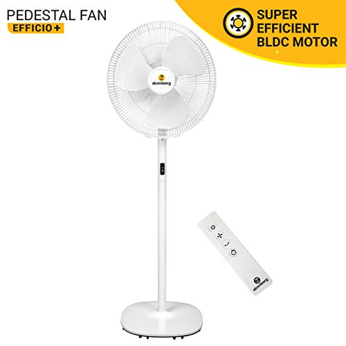Atomberg Efficio+ 400mm BLDC Motor Energy Saving Pedestal Fan with Remote Control | White| Formerly Gorilla