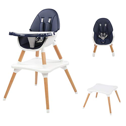 JOYMOR 5-in-1 Baby High Chair for Infants to Toddler, 4-Position Adjustable for Baby/Infants/Toddlers,Wooden Highchair Seats for Eating,Kids Table and Chair Set (Blue)