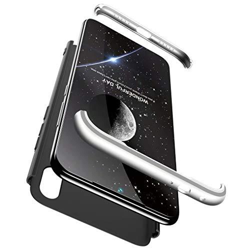 FHXD Compatibile con Custodia Xiaomi Redmi Note7 Shockproof 360° Protective Cover Antigraffio Ultra Slim 3 in 1 Protection Case Cover-Nero D'argento