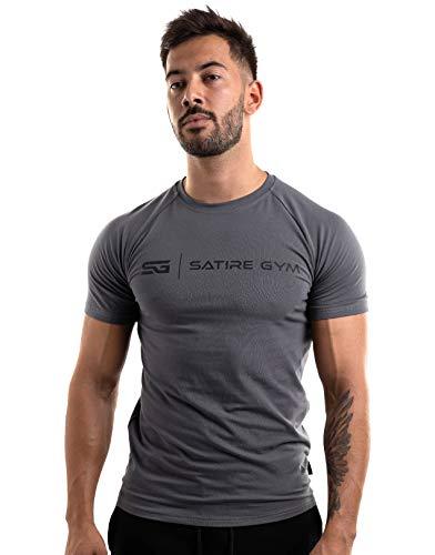 Satire Gym - Camiseta de Fitness de algodón para Hombre, Ajustada y de Secado rápido, Ropa Deportiva para Hombre – Camiseta Deportiva para Hombre como Camiseta de Fitness (Antracita, M)