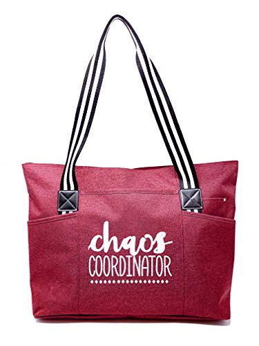 Large Cute Zippered Canvas Tote Bag with Pockets for Women - Unique Fun Gifts for Work, Gym, Beach, Christmas, Birthday, Mother's Day (Chaos Coordinator Red)