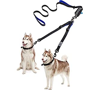 Dual Dog Leash 360°No Tangle Double Handle Leash Dog Walking & Training Leash Reflective Adjustable Dog Leash for 2 dogs up to 110 lbs, with waste bag dispenser